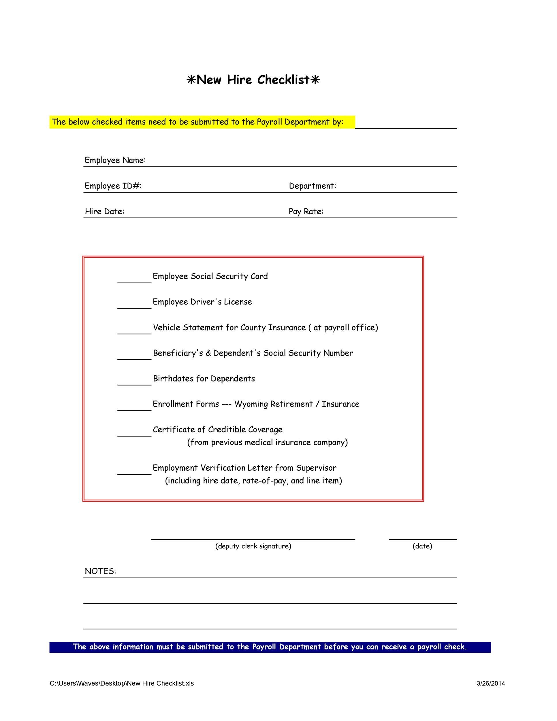 Sample new hire checklist templates: 50 Useful New Hire Checklist Templates Forms Á… Templatelab