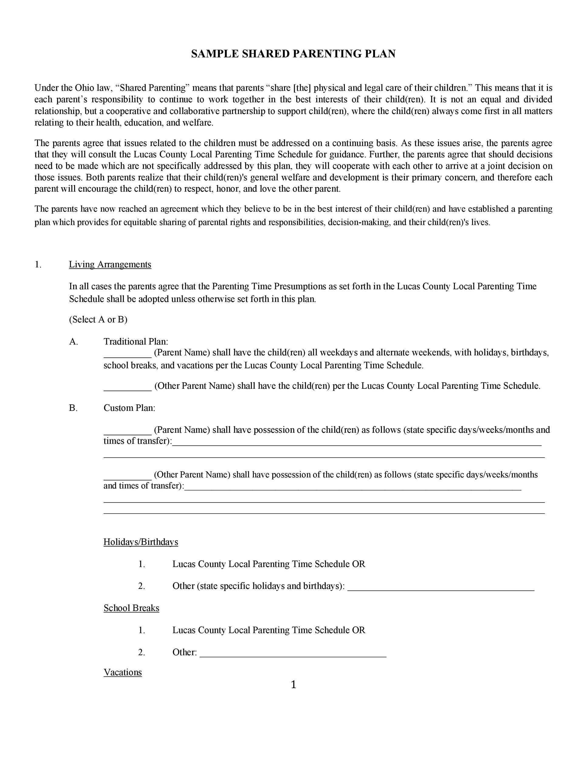 49 Free Parenting Plan Amp Custody Agreement Templates