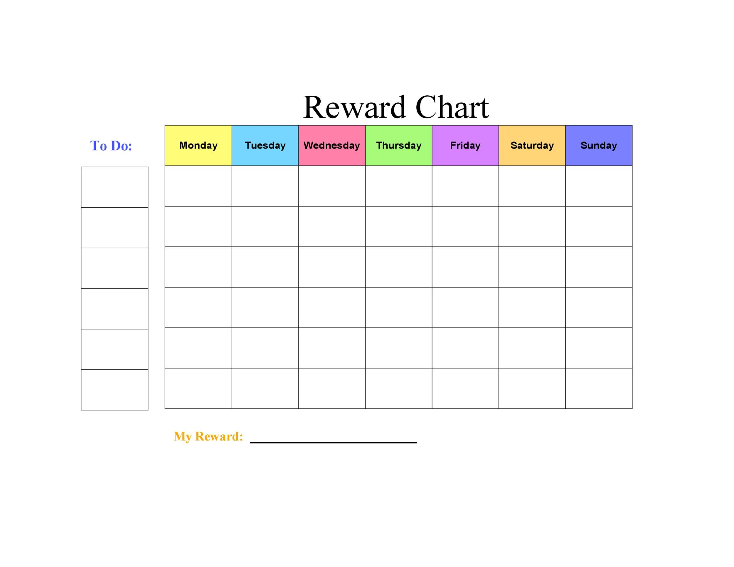 44 Printable Reward Charts For Kids Excel Amp Word