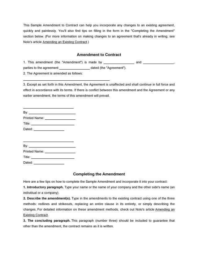 12 Professional Contract Amendment Templates & Samples ᐅ TemplateLab