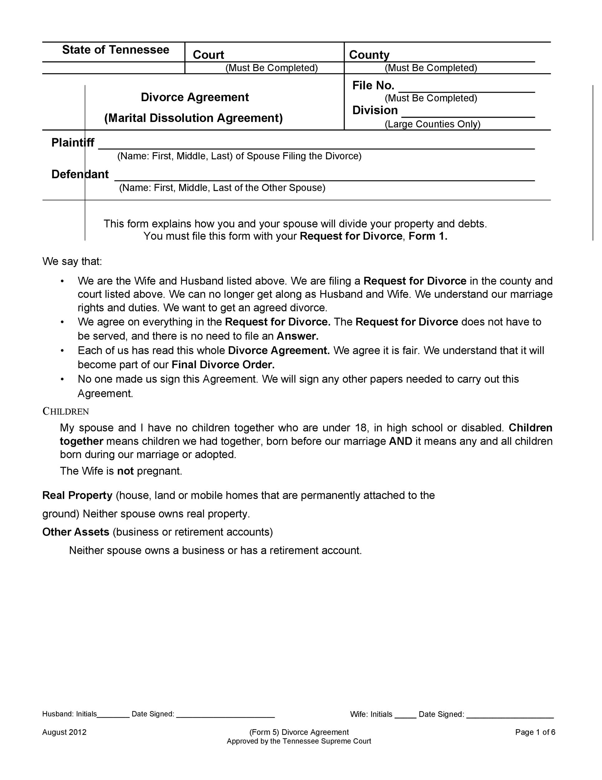 Make your separation agreement online today with our free separation agreement template. 42 Divorce Settlement Agreement Templates 100 Free Á…