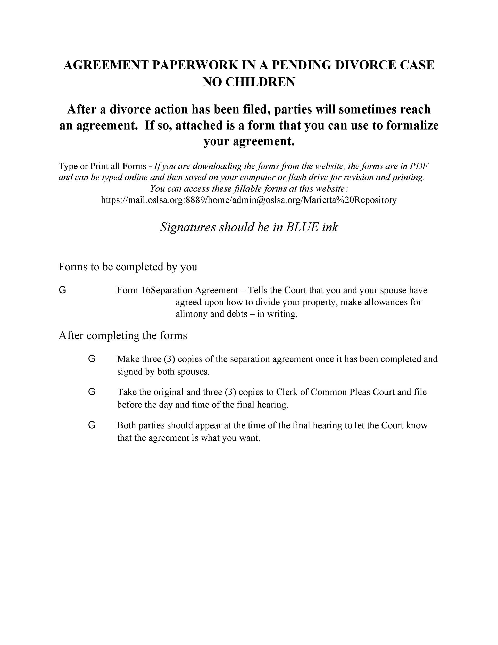 42 Divorce Settlement Agreement Templates 100 Free