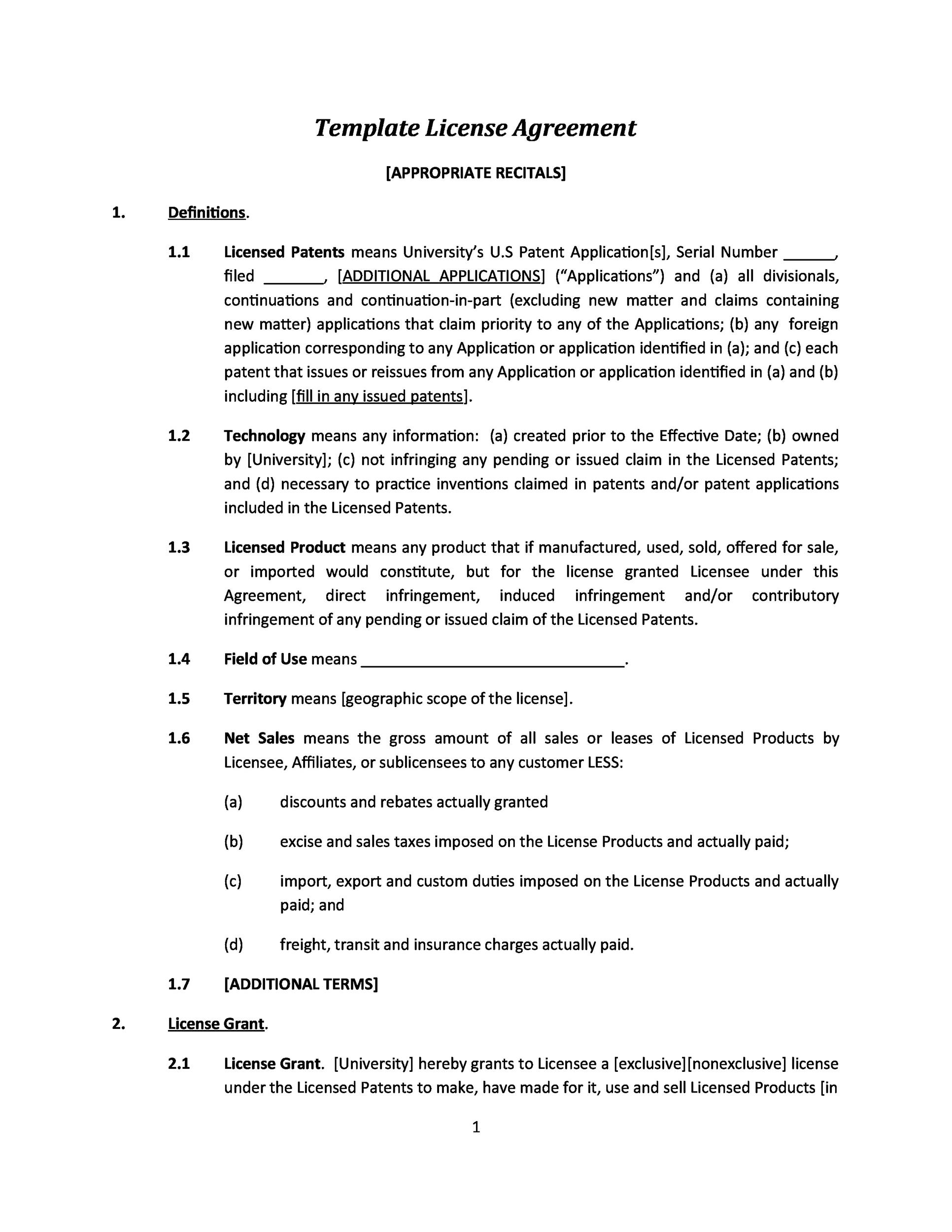 Form of intellectual property license agreement. 50 Professional License Agreement Templates Á… Templatelab