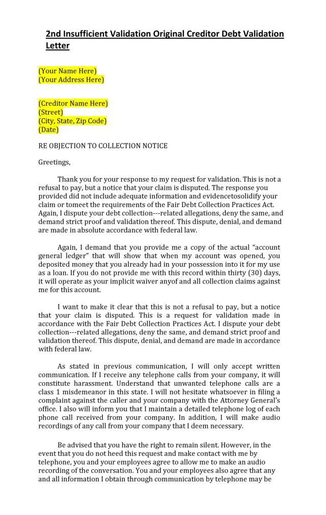 50 Free Debt Validation Letter Samples
