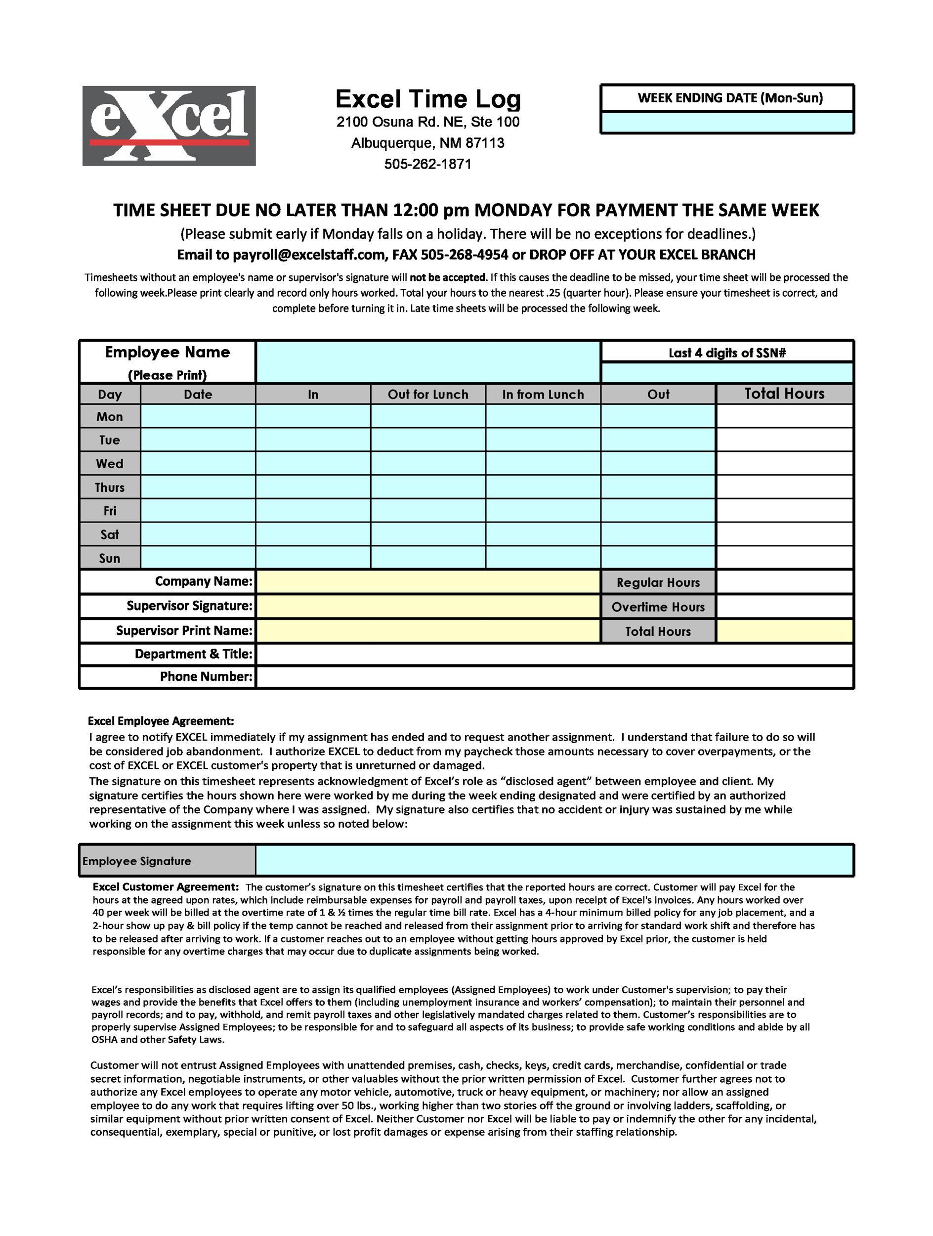 Time Log Spreadsheet