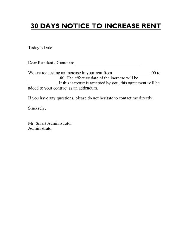 5 Friendly Rent Increase Letters (Free Samples) ᐅ TemplateLab