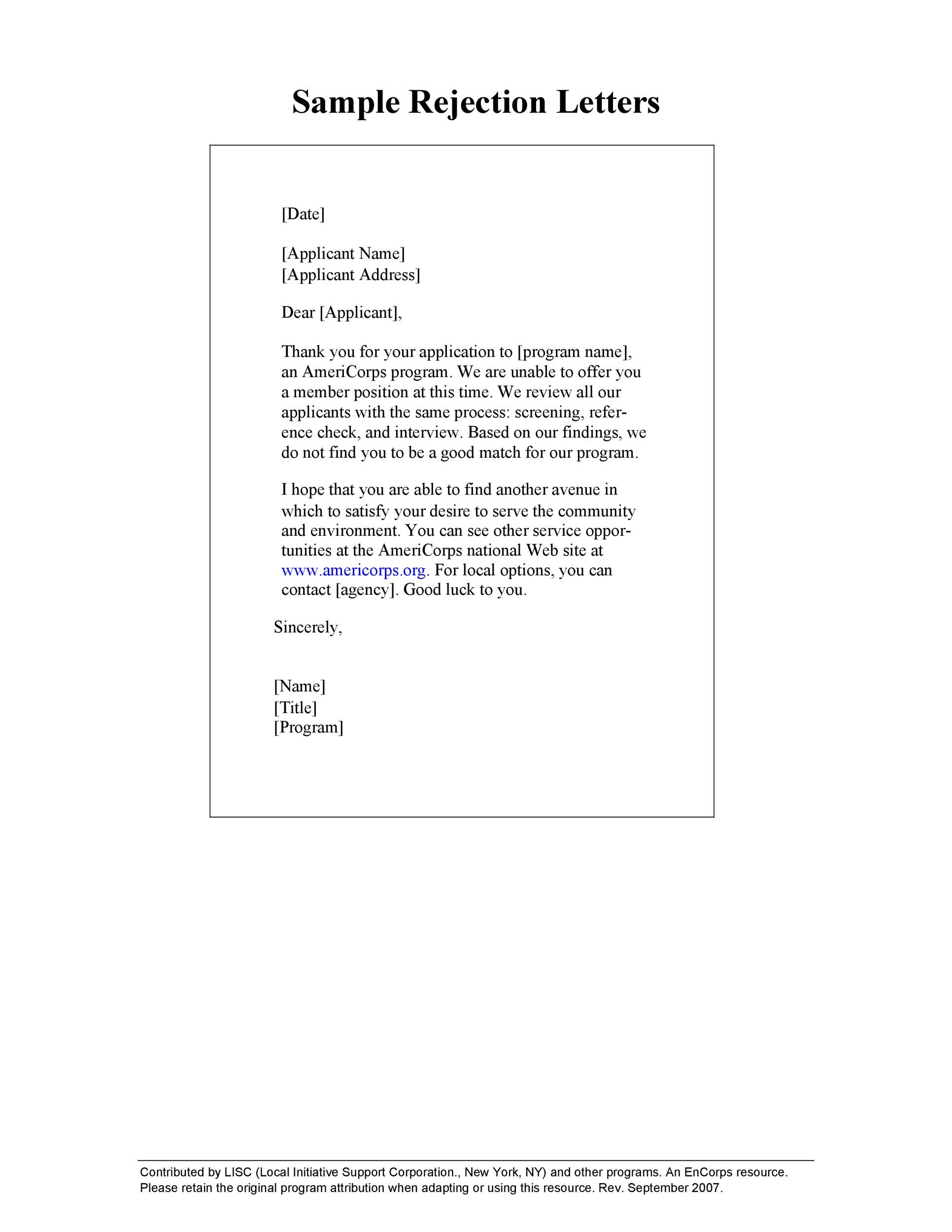 34 College Rejection Letter Samples Amp Examples Templatelab