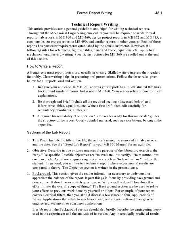 features of technical report writing pdf