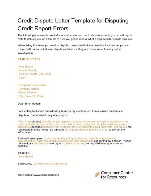 18 Best Credit Dispute Letters Templates [Free] ᐅ TemplateLab