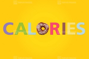Bright composition of doughnut and word calories