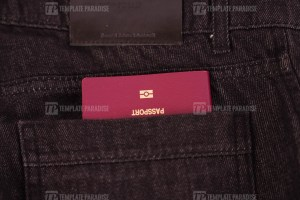 Close up of passport in jeans pocket