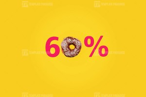 Sixty percent made with number and donut