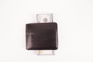 Wallet full of dollars stock image
