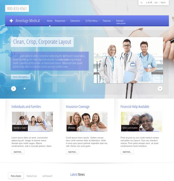 ameritage medical joomla templates