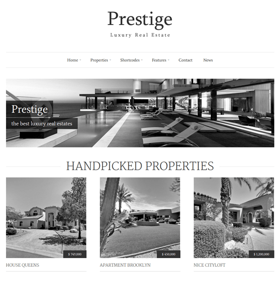 prestige real estate wordpress theme