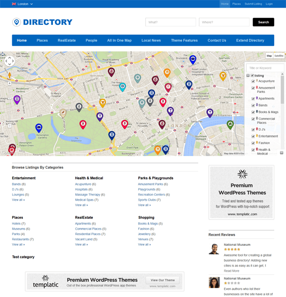 directory map wordpress themes