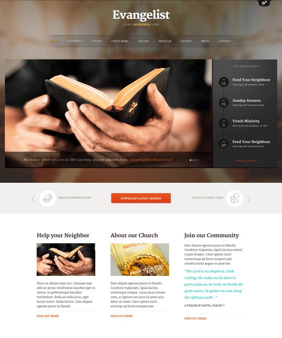 evangelist church wordpress theme
