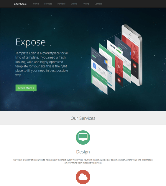 expose landing page wordpress theme