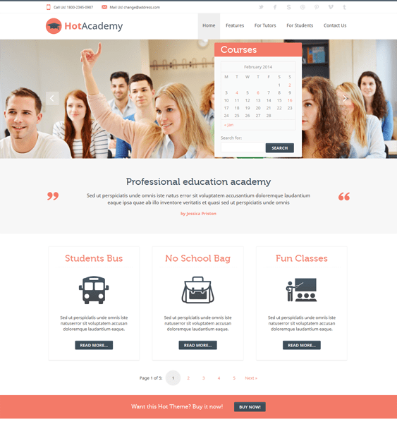 hot academy education wordpress theme