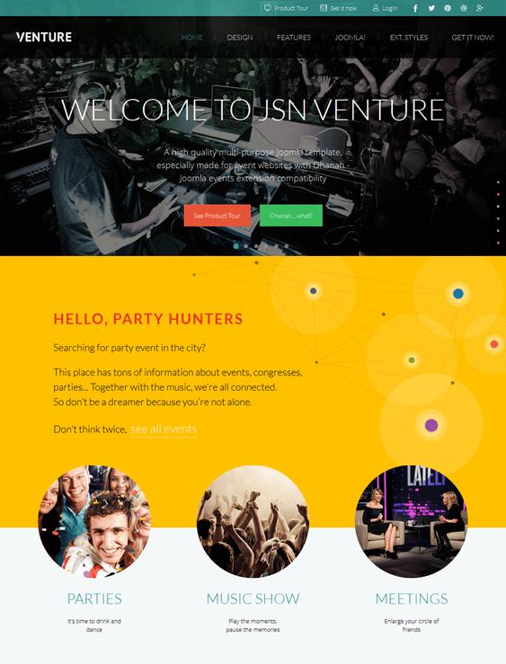 jsn venture event joomla template
