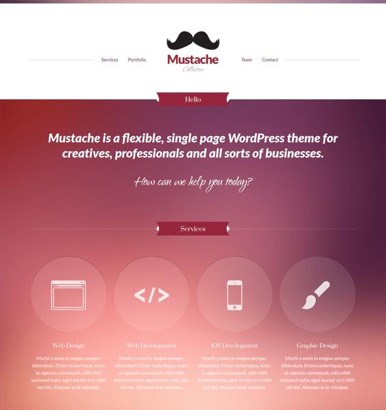 mustache one page wordpress theme