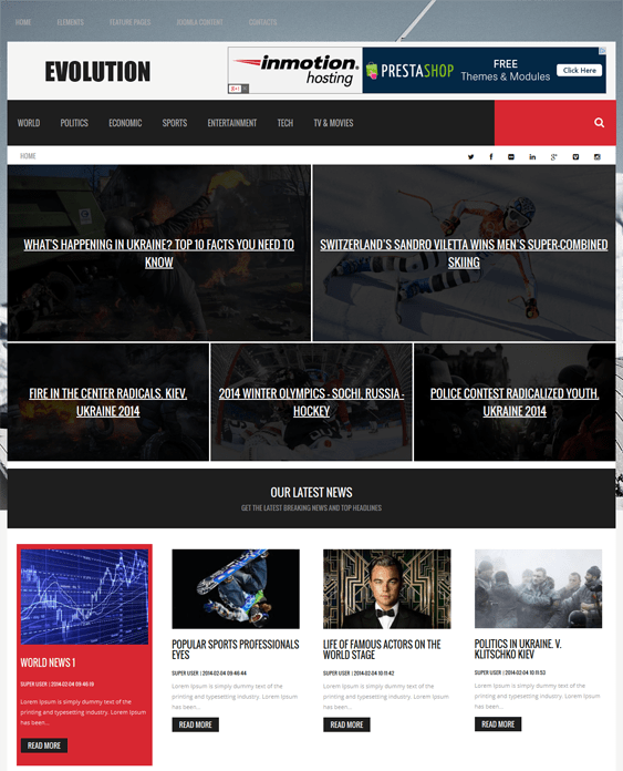 evolution joomla news template