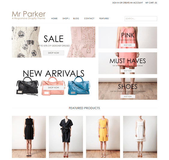 mr parker shopify themes clothing stores
