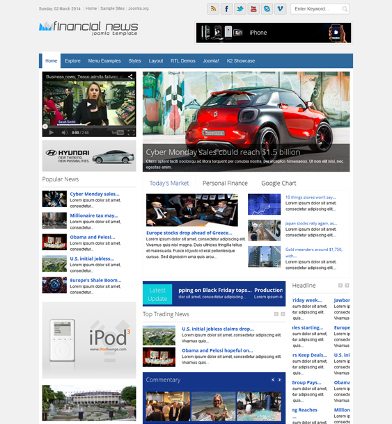 shaper financial news joomla template