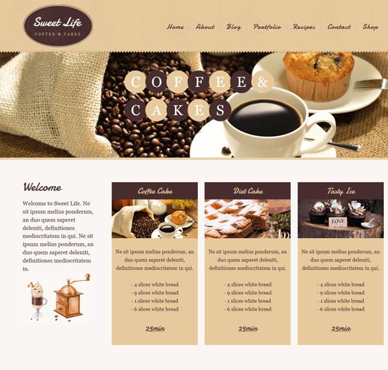 sweet life coffee shop wordpress themes