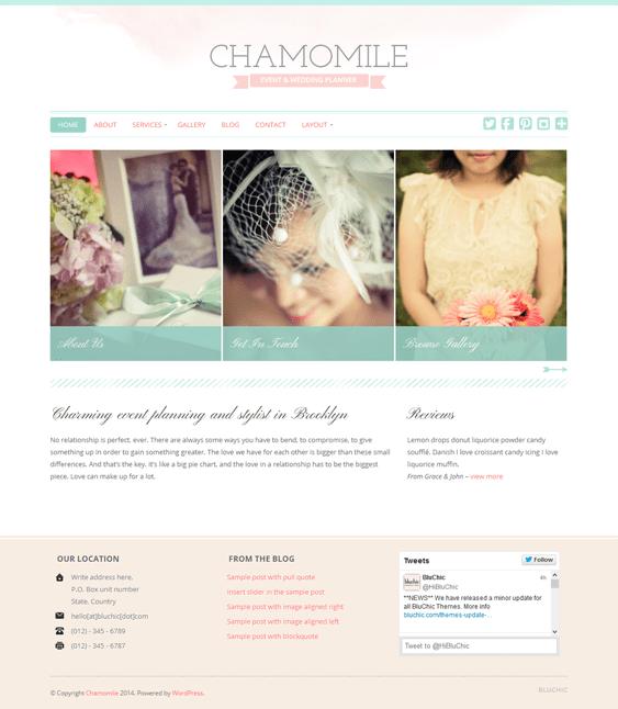 chamomile wedding wordpress theme
