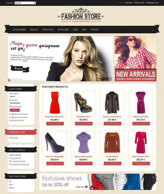 fashion store virtuemart template