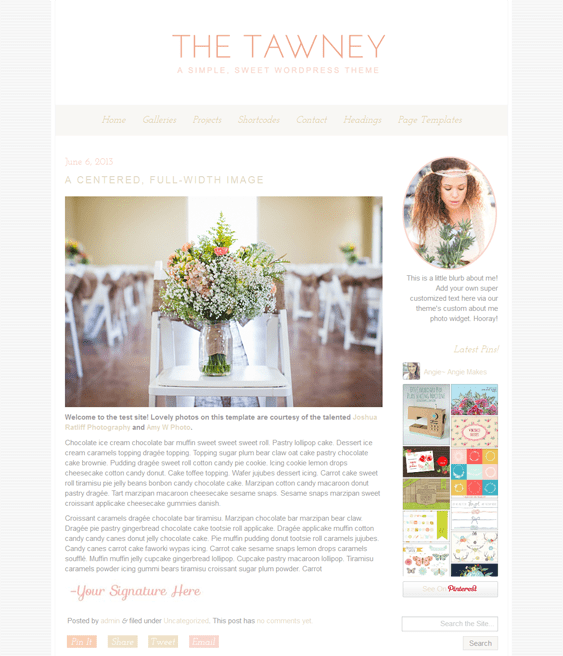 tawney wedding wordpress theme