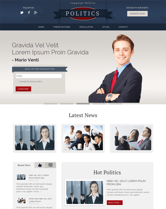 politics political wordpress theme