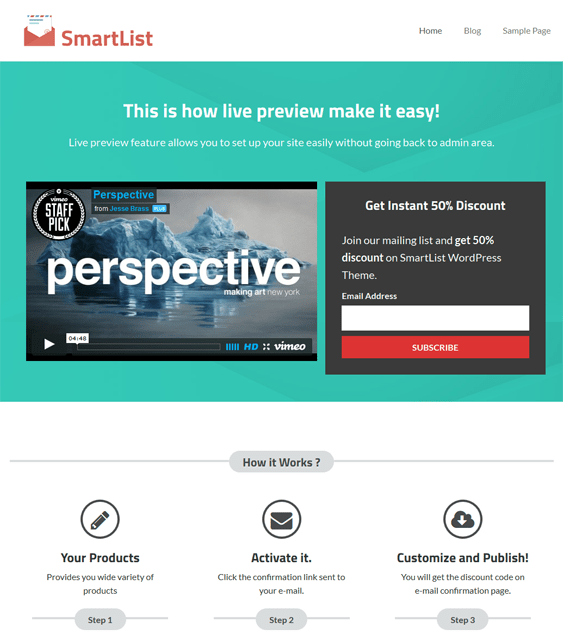 smartlist landing page wordpress theme