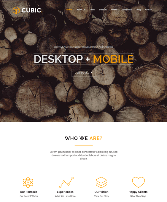 cubic one page wordpress theme