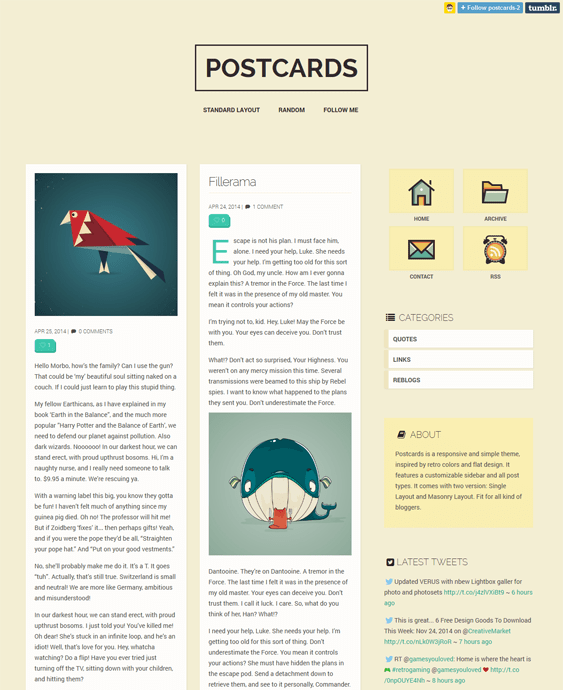 postcards masonry tumblr theme