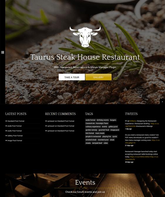 taurus restaurant wordpress theme