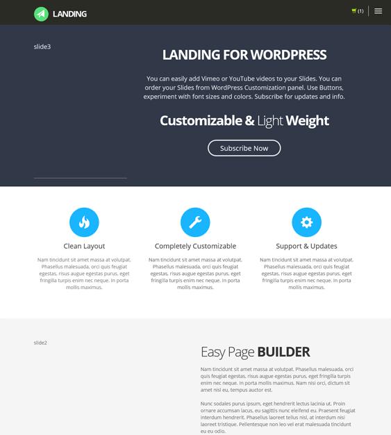 landing landing page wordpress theme