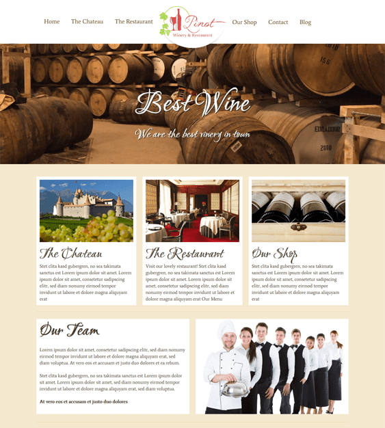pinot restaurant wordpress theme