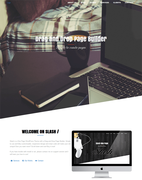 slash single page wordpress theme
