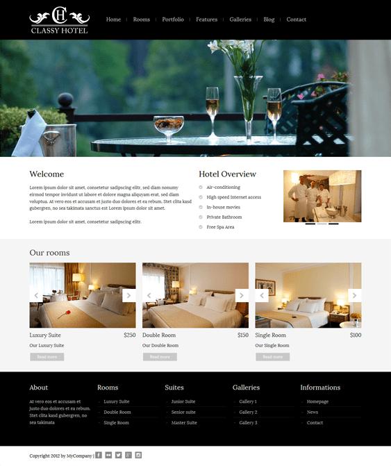 classy hotel wordpress theme