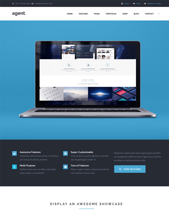 agent one page wordpress theme