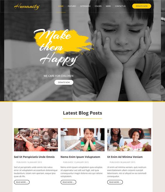 humanity charity nonprofit joomla templates