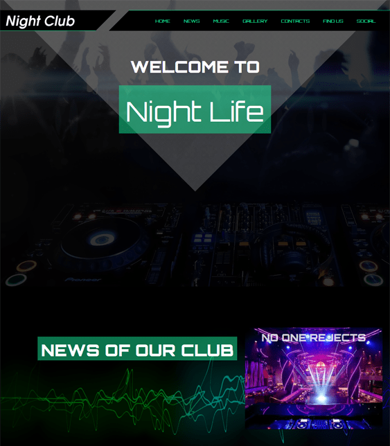 night club dark wordpress theme
