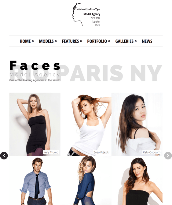 faces modeling agency wordpress theme