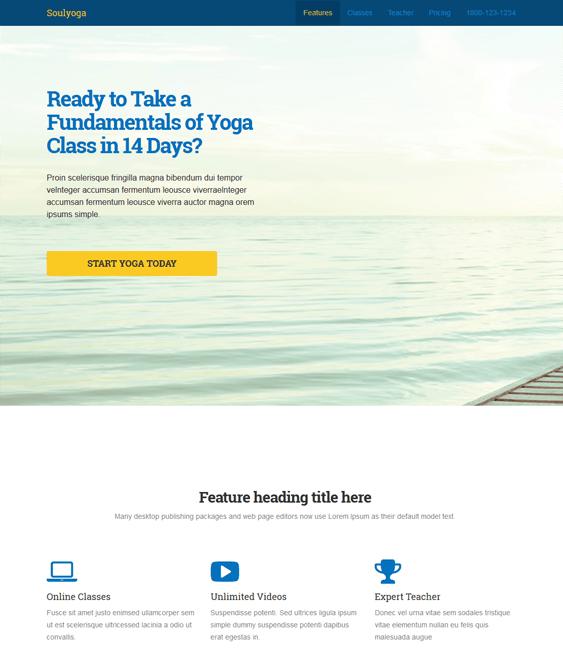 soulyoga landing page wordpress theme