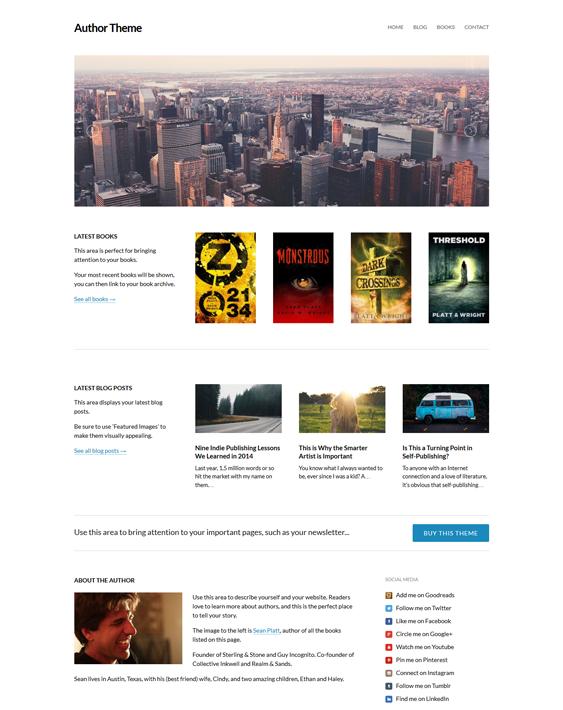 author ebook author wordpress theme