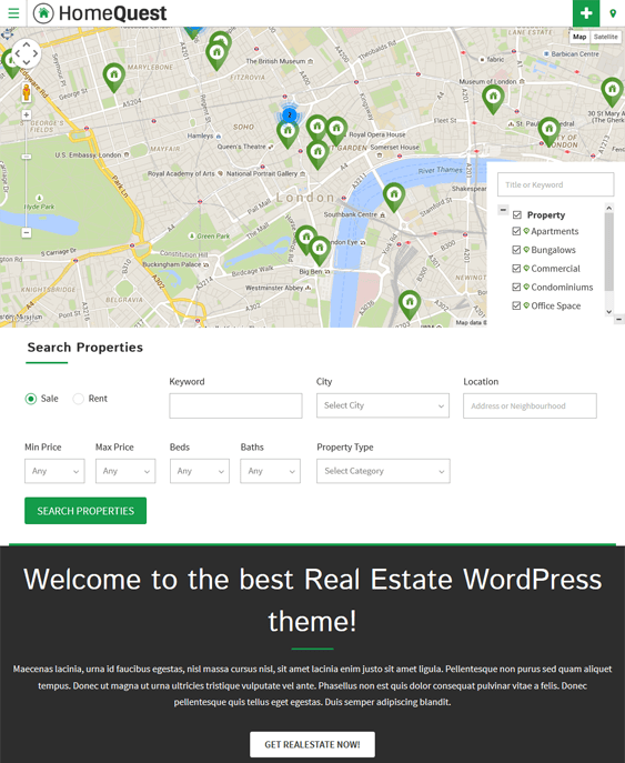 homequest map wordpress themes