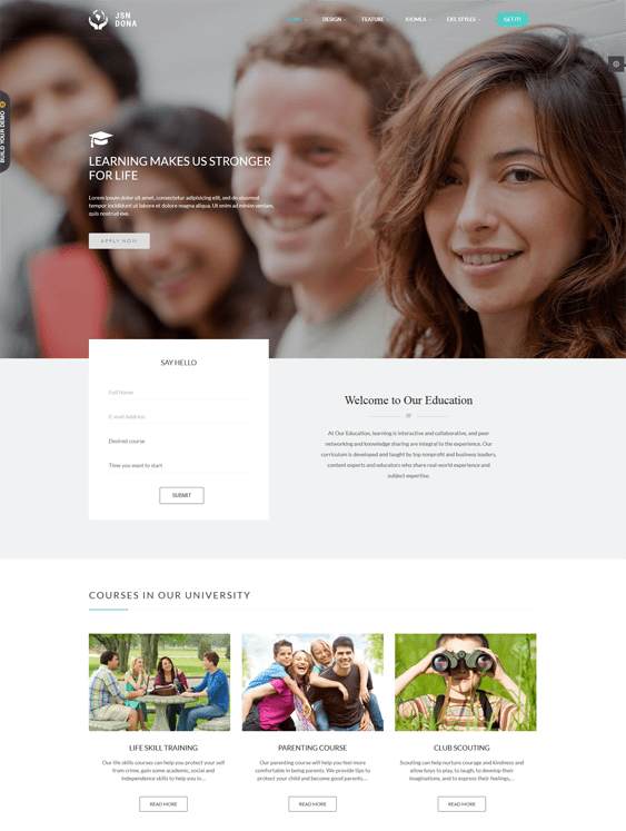 jsn dona education joomla theme