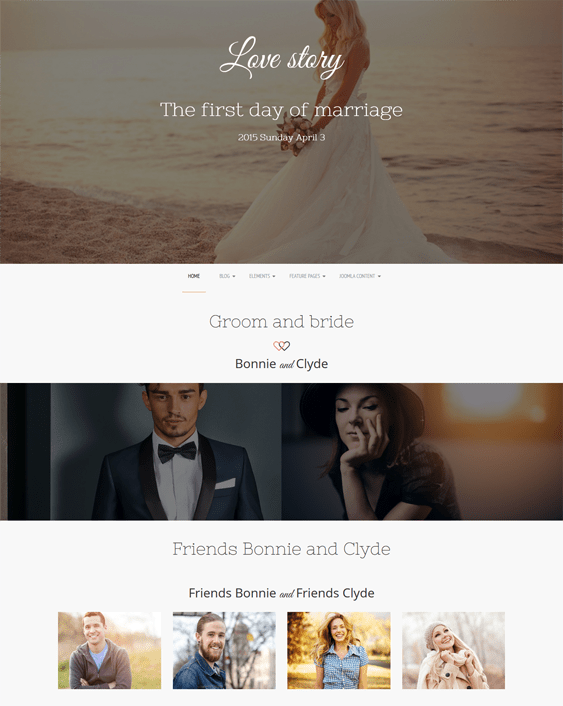 love story wedding joomla templates
